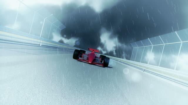 Racing Formula 1 Car On Rainy Day video