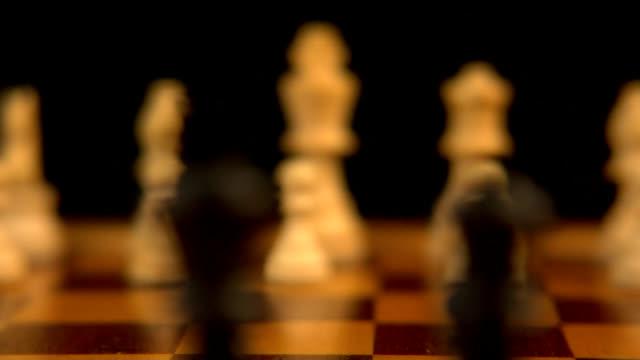 rack focus black chess pieces (HD) video
