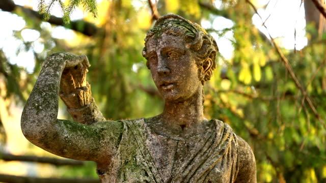 Rack Focus on Mossy Statue video