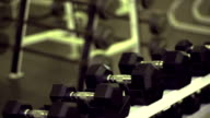 Rack of dumbell weights video
