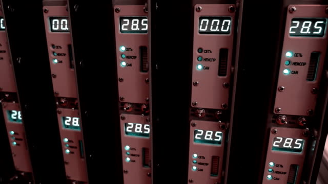 Rack with vertical electronic components with numerical counters video
