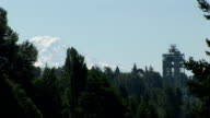 Radar tower with Mount Rainier in the background video