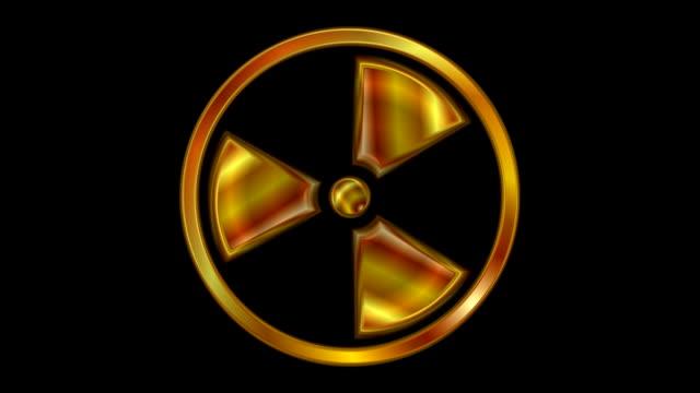 Radioactive symbol video animation. Seamless loop video