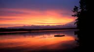 Raft and Lake at Incredible Sunset video