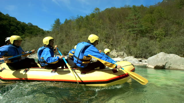 HD SLOW MOTION: Rafters Paddling Down The River video