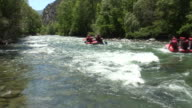 Rafting boats passing by video