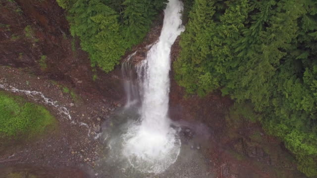 Raging Forest River Waterfall in Nature Aerial of The Pacific Northwest video
