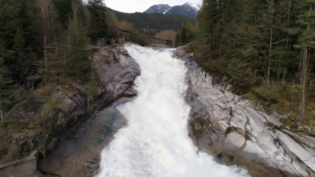 Raging Waterfall Aerial with Snowy Mountain in Background and Mist from White Water Snow Melt video