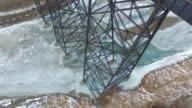 Rail Bridge Over Frozen River video