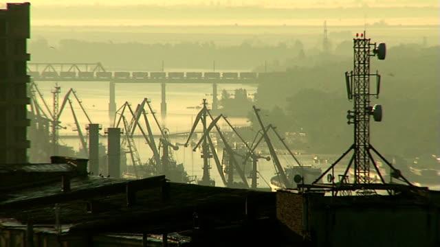 Railroad bridge over the port video