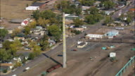 Railroad through Laramie  - Aerial View - Wyoming, Albany County, United States video