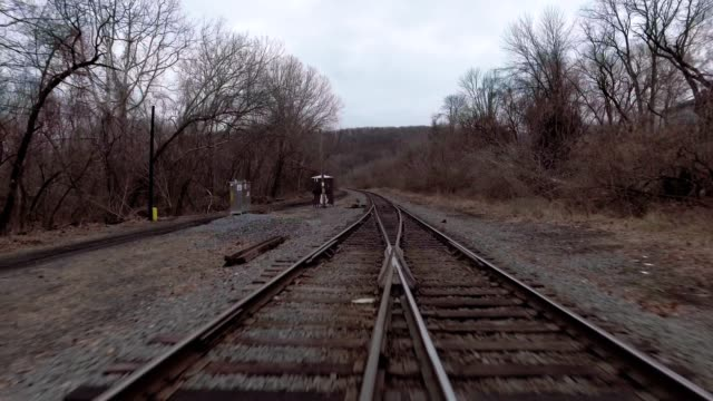 Railroad tracks dolly backwords video