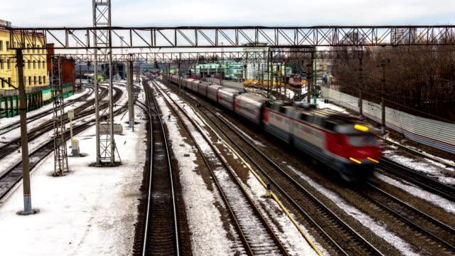railroad train fast motion time lapse video