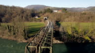 AERIAL - Railway bridge video