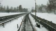 Railway in the winter. video