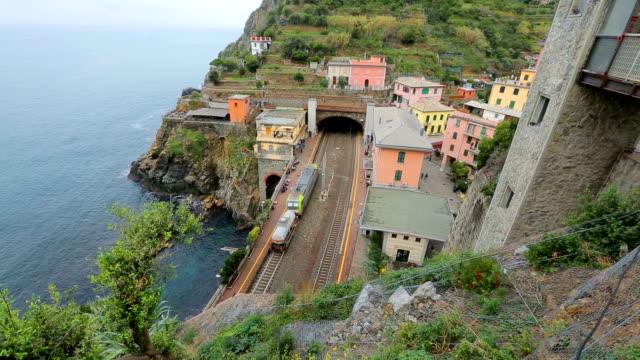Railway station in the Cinque Terre(Riomaggiore), National Park. Italy. video