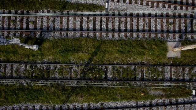 Railway tracks aerial video
