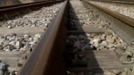 Railway tracks dolly shot video
