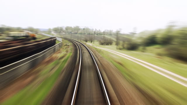Railway train travel - time lapse video