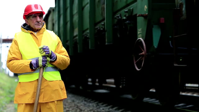 Railway worker looks at the passing train video