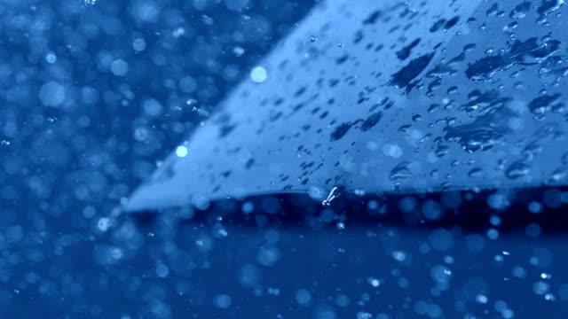 Rain and umbrella, Slow Motion video