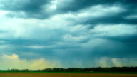 rain clouds and rural landscape, panoramic time-lapse video