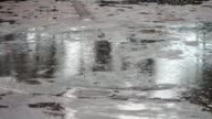 Rain dripping through the puddles. Raindrops video