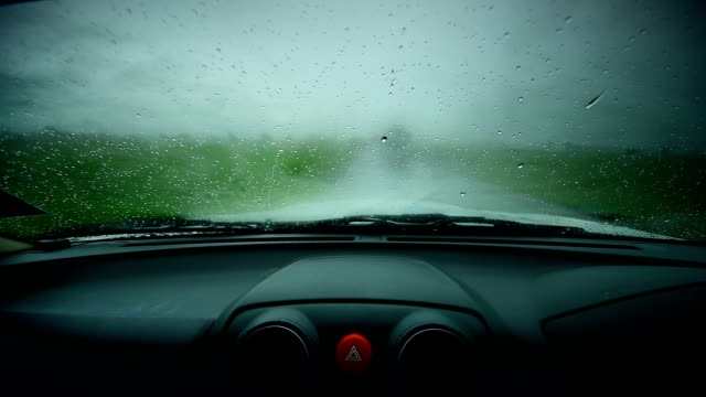 Rain on glasscar video