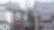 Rain on suburban window. video