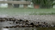 Rain puring in a puddle of mud in agritourism resort video