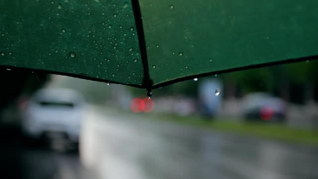 Rain Storm Umbrella City Street video