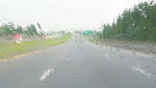 Rain, windshield, highway, traffic. video