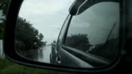 rain with car side mirror video