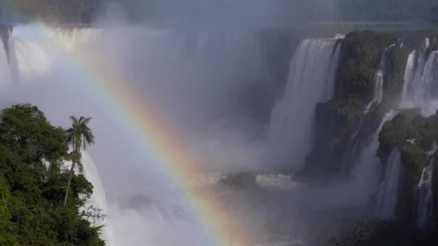 Rainbow at Iguazu Falls, on the Border of Brazil and Argentina video