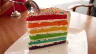 Rainbow cake in the cafe video