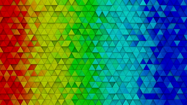 Rainbow colorful extruded triangles 3D render loopable video