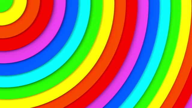 Rainbow concentric circles 3D animation seamless loop video