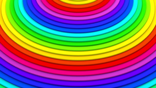 Rainbow concentric lines 3D animation seamless loop video