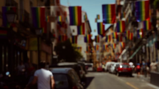 Rainbow Flag Gay Rights Pride in Chueca district, Madrid video
