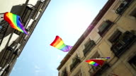 Rainbow Flag Gay Rights Pride in Madrid, Spain video