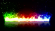 rainbow flaming fire and reflection loop video