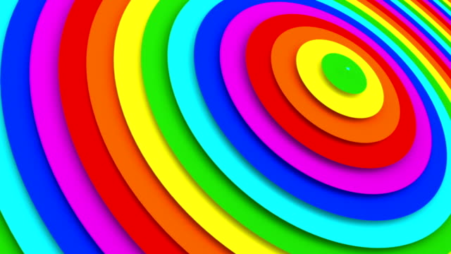 Rainbow gradient concentric rings 3D animation seamless loop video