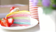 Rainbow multi colored crepe cake with strawberry video