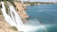 Rainbow On Duden Waterfall In Antalya Turkey video