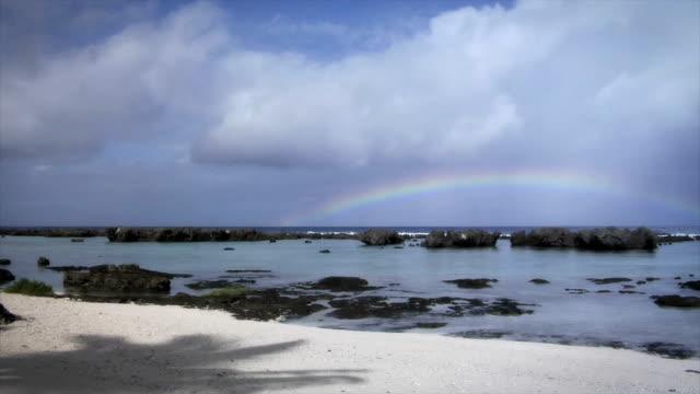 Rainbow Over Ocean on Tropical Paradise Island (HD) video