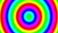 Rainbow spectral gradient rings moving slowly out, seamless loop video