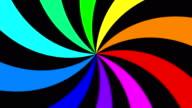 Rainbow spectral swirl rotating quickly anticlockwise, seamless loop video