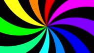 Rainbow spectral swirl rotating slowly clockwise, seamless loop video