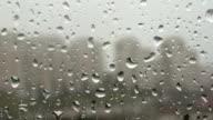 raindrops falling down a window video
