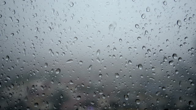 Raindrops flowing on the glass, Real Time video